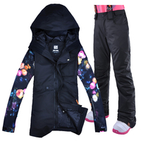 GSOU зимняя Лыжная куртка и брюки комплект Для женщин сноуборд костюм для Для женщин Спорт на открытом воздухе комплект снег Водонепроницаем