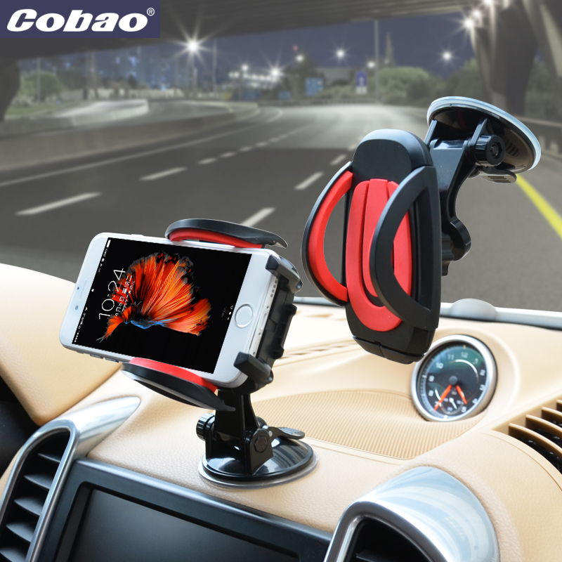 Cobao universal car holder for phone strong suction windshield dashboard mount mobile phone holder stand for smartphone iphone