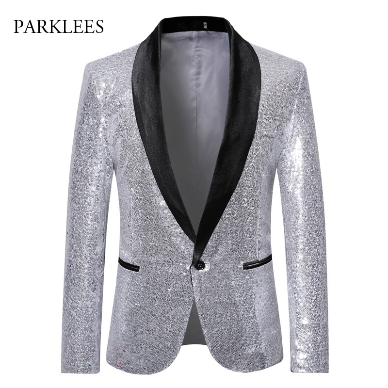 Silver Sequins Men Blazer Shiny Sparkle Glitter Stage Perform Show Blazer Hombre Nightclub Disco Dance Party Blazers Men Suits