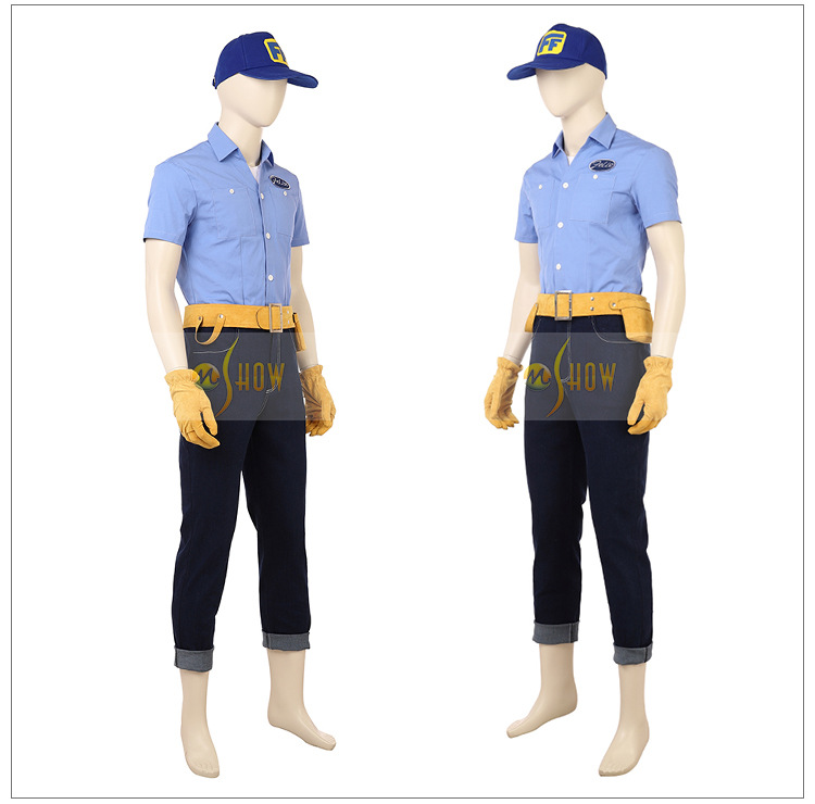 Wreck-It Felix Cospay Costume Blue Top Tank Hat Pants Set Vanellope von Schweetz Cosplay Customized Made Halloween Carnival Cos
