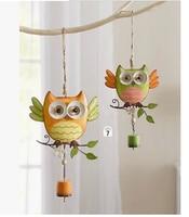 Free shiping.2pcs.Home&Garden decoration ornament gardening store children's room decor metal owl wind chimes.Cute owl Campanula