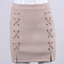 Women's High Waist Suede Leather Vintage style mini Skirt