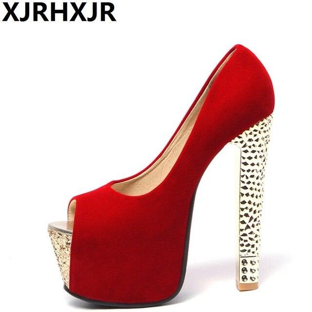 5a5b13bac05461 XJRHXJR 2019 marque chaussures femme 16 CM talons hauts femmes pompes  Stiletto talon épais chaussures pour