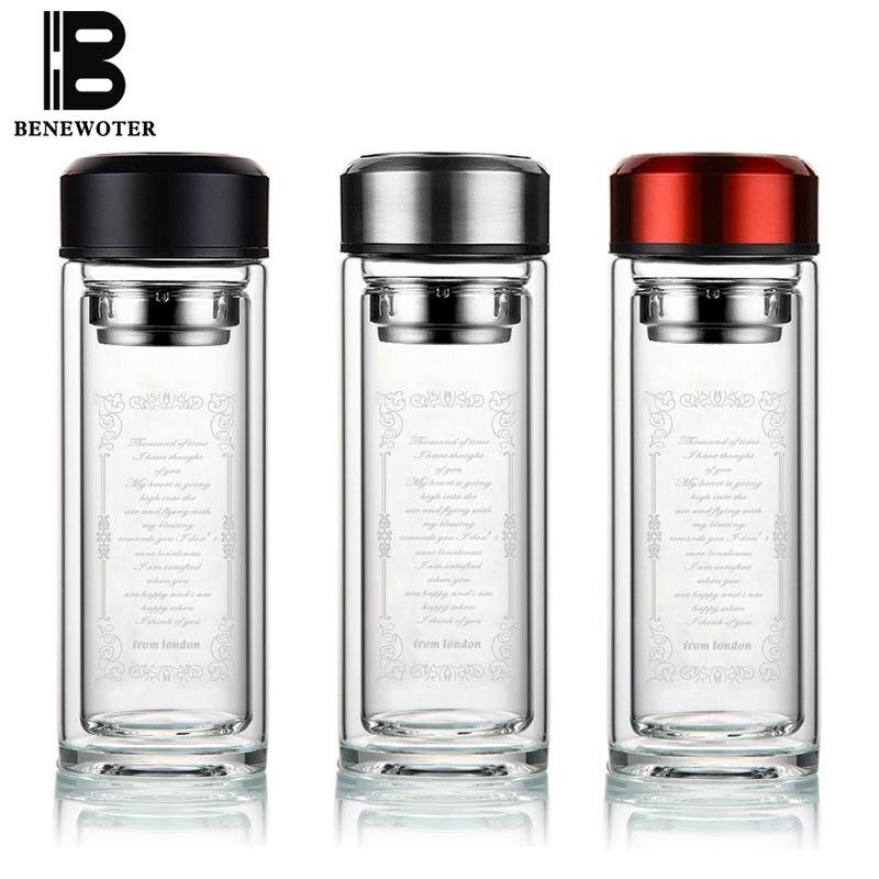 Портативный 360 мл термостойкие ясно мой Стекло бутылка для воды с Нержавеющаясталь фильтр двойными стенками Стекло Посуда для напитков сп...