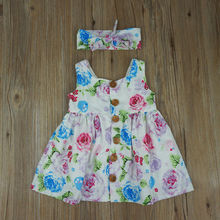 Toddler Kids Baby Girl Floral Tank Dress Match Headband