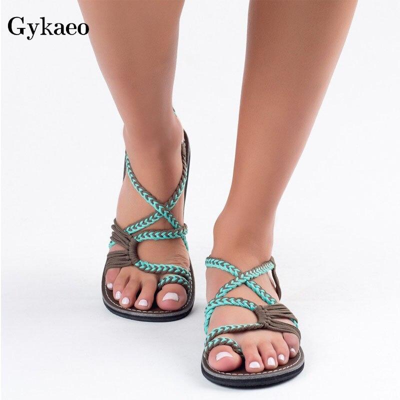 Gykaeo Women Sandals Shoes American-Style Flat Roman Large-Size Peep-Toe Summer European