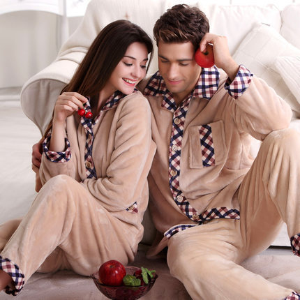 Free Shipping Winter Tcoral Fleece Cotton Couples Plus Size Full-sleeve Beige Color Hick Sleepwear