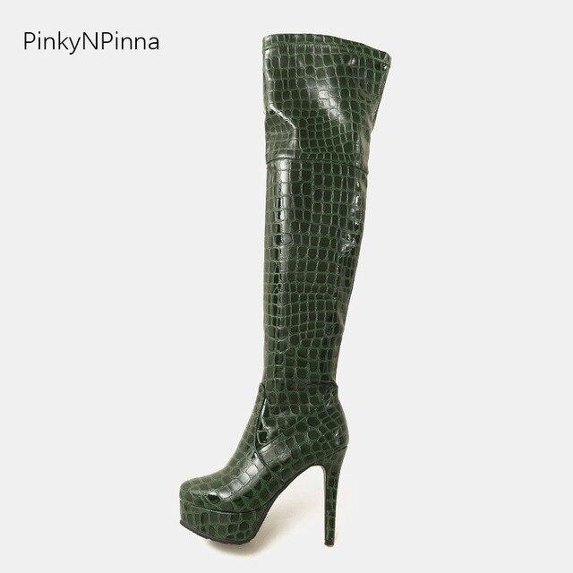 Seksi kadınlar diz çizmeler üzerinde patent deri timsah derisi desen gece kulübü dans fetiş 11 cm topuklu stiletto platformu artı boyutu