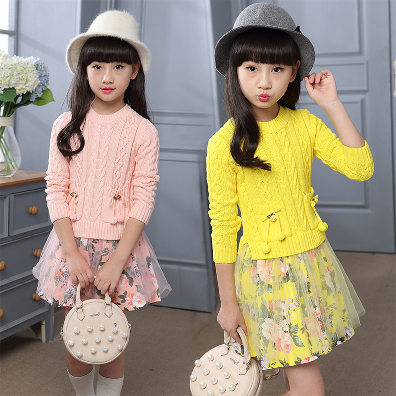 fbab1ae618683 Kids Girls Dress Christmas Party Dresses Knitted Thick Warm 2018 ...