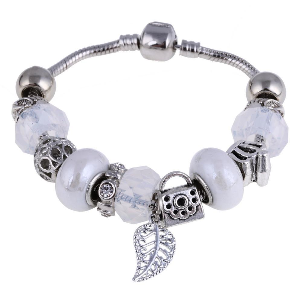 Pink Crystal Charm Silver Bracelets & Bangles for Women  Beads Silver Bracelet Femme Jewelry 19