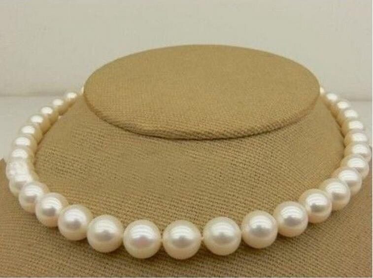 цена на Hot sale new Style >>>>>Natural AAA++ 9-10 MM SOUTH SEA white PEARL NECKLACE