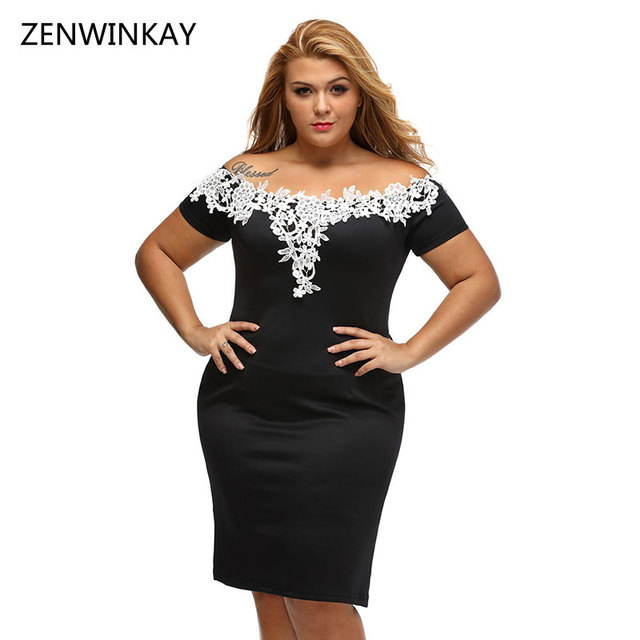 2017 Black Dress Embroidered Flowers Women Off Shoulder Dress Sexy ...