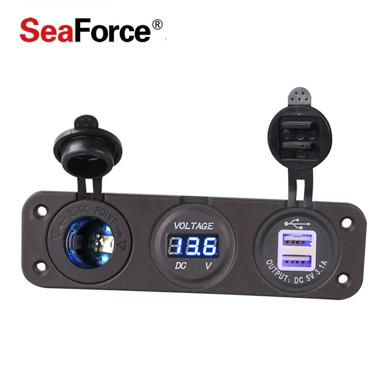 Seaforce 1piece 12v Car Cigarette Lighter Socket With Led