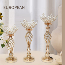 Hollow Candle Holders Gold Metal Crystals Wedding Table Centerpieces Hotel Candlestick Home Vase Candelabra Decoration