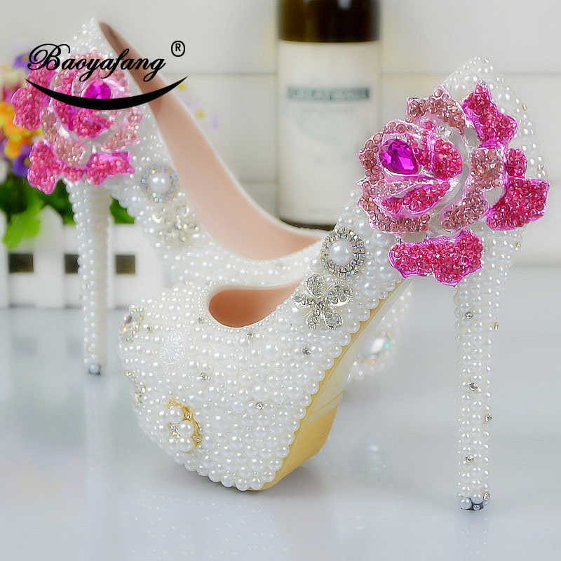 6023121bdd66d5 forme Blanc Fleur Haute Plate 8cm Nouvelle Fuchsia Chaussures Partie Femmes  Shoe Perle De Robe Femme 11cm 14cm Mariée Arrivée Mariage Shoe Talons ...