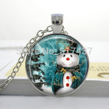 CR33-Snowman and tree Christmas Necklace glass dome cabochon 25mm Snowman Jewelry for X-MAS Gifts