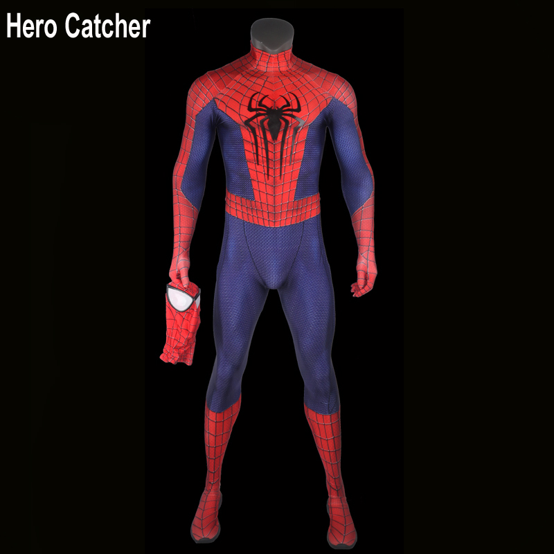 Hero Catcher4 Top Quality Amazing Spiderman Cosplay Costume For Man Custom Made Fullbody Spandex Spiderman Suit With Relief Logo