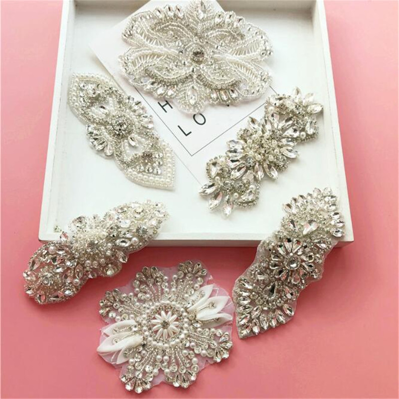 1Pc Bling Bling Handmade Iron On Beaded Crystal Clear Rhinestone Applique  for Wedding Ornaments Baby Girl Hair Accessories RT012-in Rhinestones from  Home ... 33827d7120fe