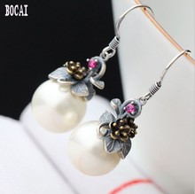 Hand-embroidered beads 925 sterling silver earrings small flowers vintage Thai for Women