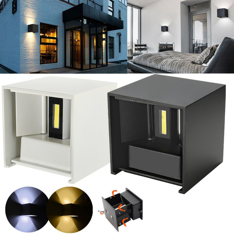 Waterproof Modern Outdoor LED Cube Wall Lamp Up And Down Adjustable Light Angle COB Aluminum AC85