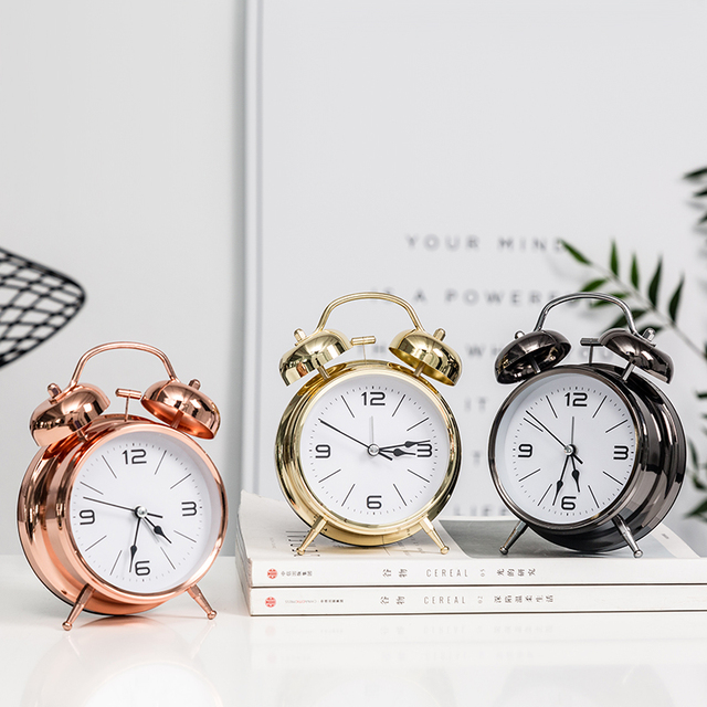 Alarm Clock Metal Modern Pointer Clock Double Ringing Desk Bedside Student Table Clock Home Decoration Wall Clock