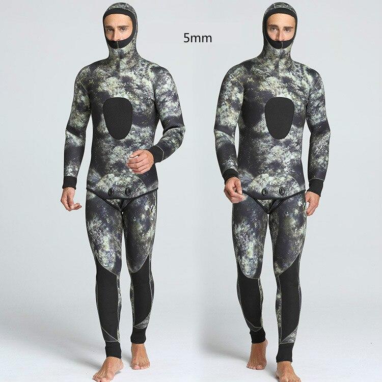 2018 новый зимний камуфляж 5 мм комплект из двух предметов мужские для плавания и дайвинга Водонепроницаемая теплая одежда оптовая продажа