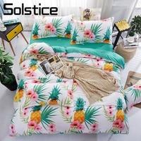 Solstice Home Textile Bedding Set Boy Girl Kid Teen Bed Linen 3 4Pcs Pineapple Green Duvet Comforter Cover Pillow Case Bed Sheet