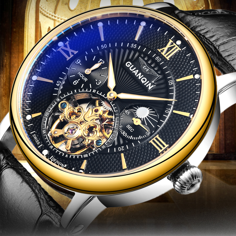 Relogio Masculino GUANQIN Tourbillon Mens Watches Top Brand Luxury Gold Men Watch Automatic Mechanical Leather Wristwatches relogios masculino new guanqin luxury brand tourbillon skeleton male watches men sport leather strap automatic mechanical watch