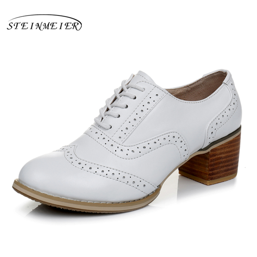Genuine leather big woman shoes US size 9 designer vintage High heels round toe handmade white pumps 2019 sping with fur-in Women's Pumps from Shoes    1