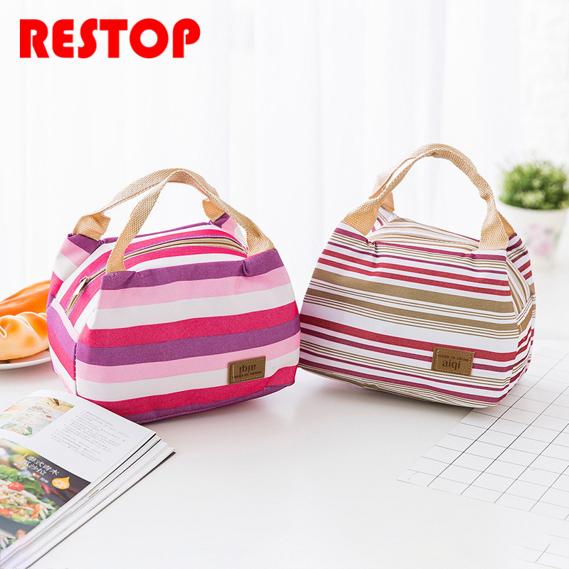 Fashion Stripe Waterproof Oxford Lunch Bag Thermal Food Picnic Lunch Bags for Women kids Men Cooler Lunch Box Bag Tote RES922