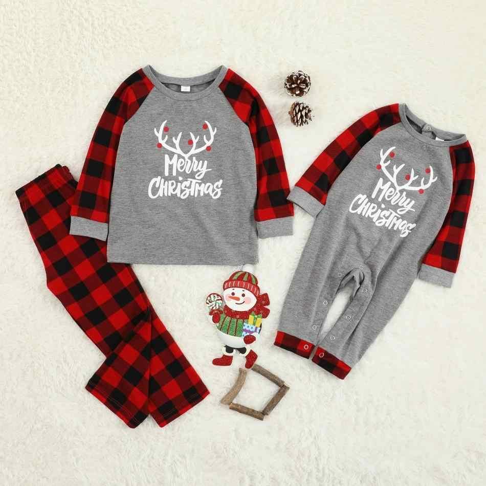 Pijamas familiares de Navidad a cuadros ropa de dormir a juego conjuntos de ropa de vestir padre madre chico y bebé pijamas de Navidad conjuntos