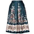 Novo 50 s vintage saias elegantes mulheres boho étnica retro flor print floral cintura alta flared plissada midi saia das mulheres