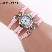 snowshine #10    Women Infinity Love Hand-knitted Leather Chain Quartz Wristwatch Watch  free shipping