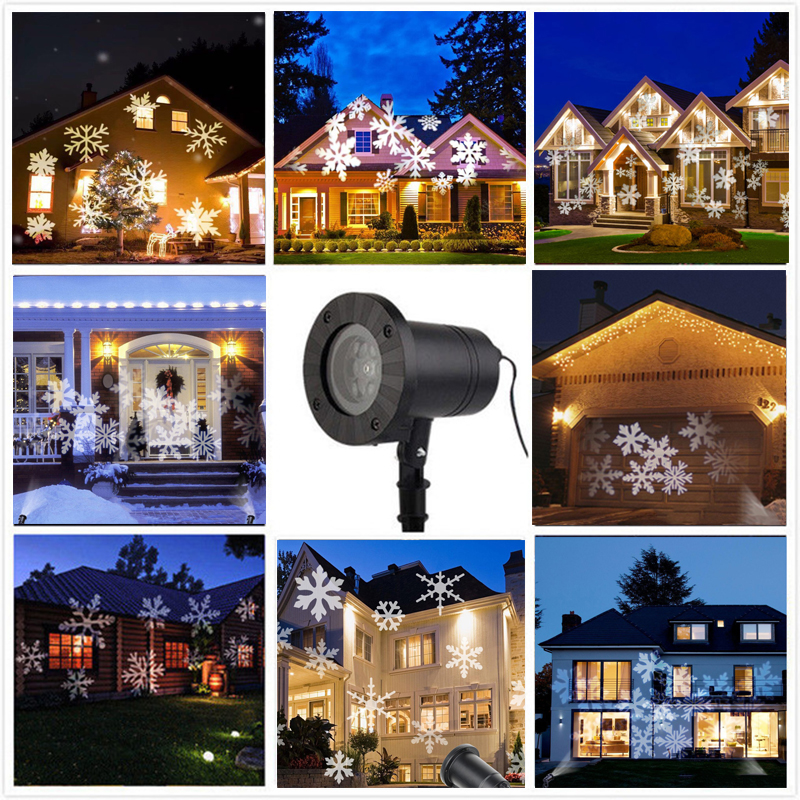 Waterproof Moving Snow Laser Projector Lamps Snowflake LED Stage Light For Christmas New year Party Light Garden Lamp недорого
