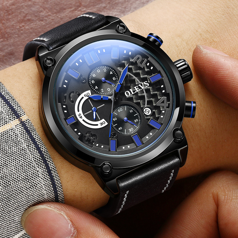 OLEVS Quartz Male Watches Genuine Leather Watch Men Waterproof Sport Clock Military Auto Date Quartz Wristwatch reloj hombre 60%off fashion silicone bracelet watch olevs men classic design military watches quartz auto date diver sports wristwatch 2017