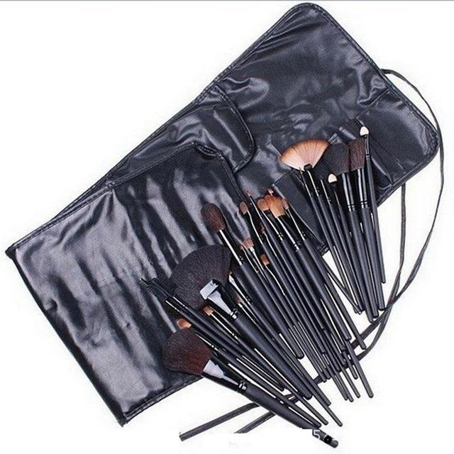 32 UNIDS Alta Calidad Cosmética Profesional Kits de Cepillo Del Maquillaje Facial Pinceles de Maquillaje de Lana Conjunto de Herramientas Con Estuche de Cuero Negro