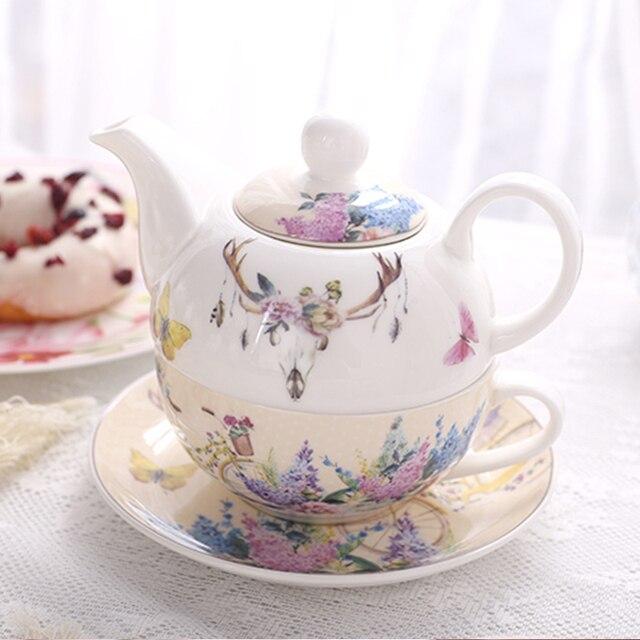 Pastoral Style Coffee Teapots Cups Set Ceramic 1 Pot 1 Cup 1 Saucer  Creative Handpainted Tea