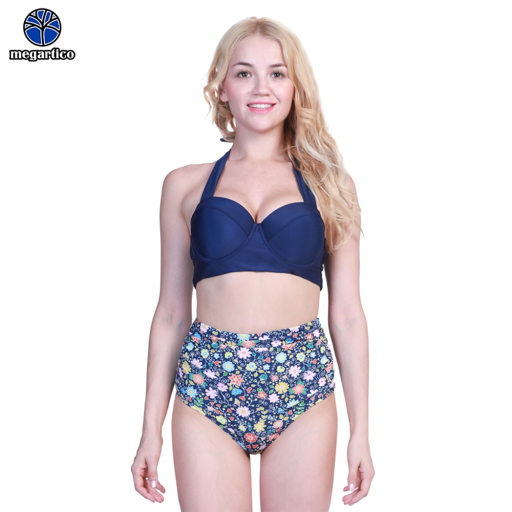 Women Bikini 2019 sexy swimmers female swimsuit high waist floral print halter high neck lace up swimsuit Bathing Suit Push Up 2
