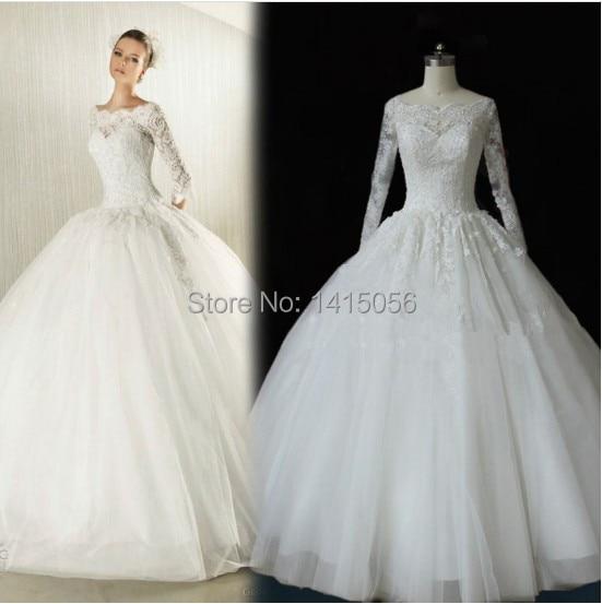 Ball Gowns Cupcake Wedding Dress Long Sleeves Tulle Puffy Vestido De ...