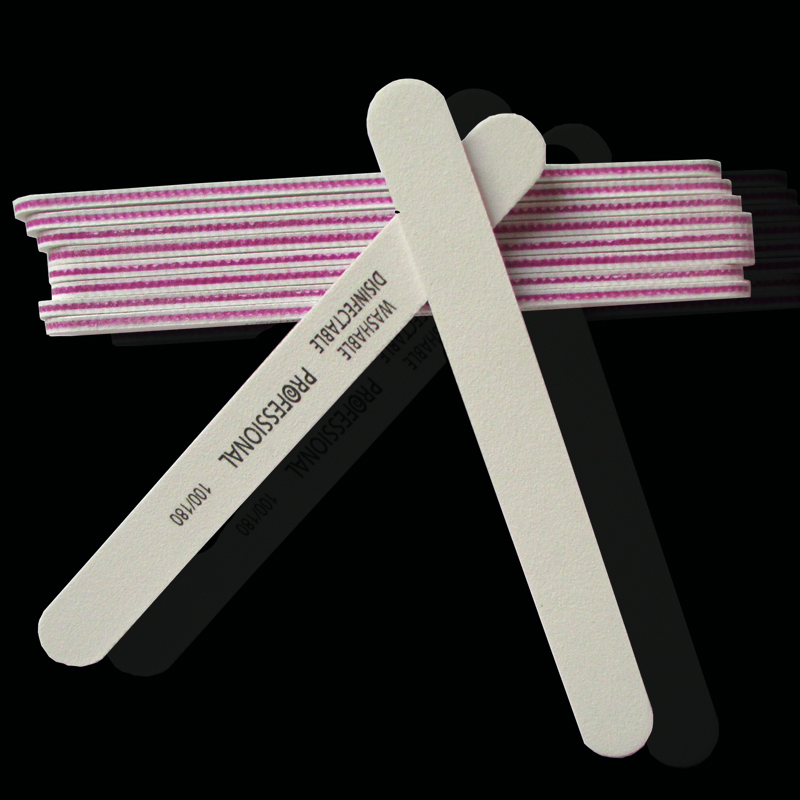 100pcs Nail File Professional 100/180 Double Side Emery Board white ...