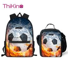 Thikin Soccer Ball Pattern Students School Bag  Teens Backpack Big Capacity Supplies Package Shoulder Women Mochila