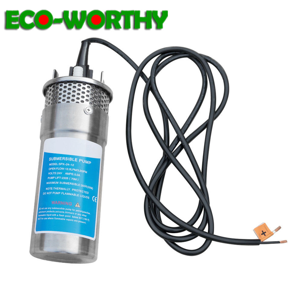 ECOworthy 12V 24V Steel Water Pump Submersible Deep DC Solar Well Stainless for house Ranch Solar