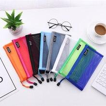 Cosmetic-Bag Pencil-Case Examination-Pen-Bag Portfolio Freshness Transparent Nylon And