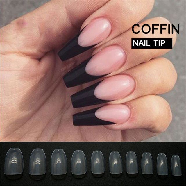 500pcs Pack Coffin False Nails Transpa Professional French Nail Art Tips Acrylic Design Artificial Manicure