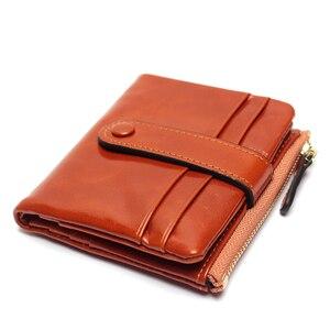 Image 2 - Женский кошелек из натуральной кожи, маленький держатель для карт, дамские Короткие Бумажники на застежке из вощеной масляной кожи, сумочка для мелочи