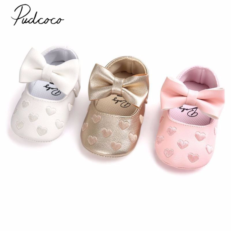 2018 Brand New Newborn Infant Baby Girls Boy Causal Shoes Crib Shoes 3 Style Leather Heart Print Hook Soft Sole Baby Shoes 0-18M