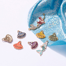 10pcs/pack DIY Colorful Mermaid shell Pendant Jewelry Findings Gold Color Charms Handmade Necklace Girls Kids Accessory FX056