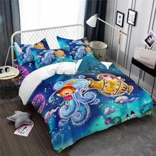 Dreamlike Cartoon Bedding Set Aquarius Constellation Print Duvet Cover Colorful Galaxy Kids Bedclothes Pillowcase