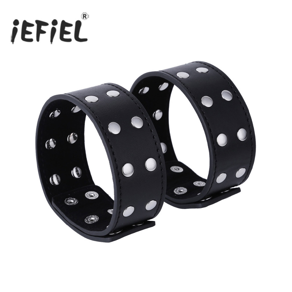 iEFiEL 2Pcs Adjustable PU Leather Wide Strap 2 Rows Metal Rivet Couples Cuff Wristband Costume Role Play Special Holidays Gifts