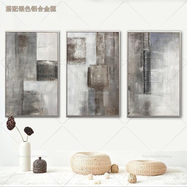 3 шт. серая Абстрактная живопись ручная роспись маслом на холсте картина стены Искусство настенные картины для гостиной домашний декор